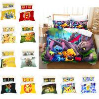 3D Anime Stitch Dragon Kids Bedding Set Duvet Cover Pillowcase Set