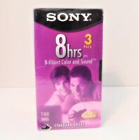 3-Pack of Sony T-160 VHS Tapes 8 hours each Factory Sealed