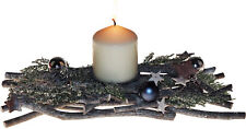 Winter Christmas Table Centre Piece Candle Holder 32cm - With Pillar Candle