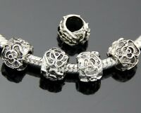 50pcs Tibetan Silver Flower Beads For Charm Bracelet Free Ship ZY185