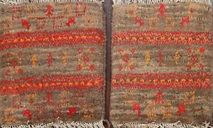 Pair of 2 Tribal Authentic Gabbeh Geometric Hand-knotted Plush Wool Area Rug 1x1