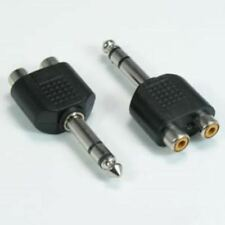 "2x 6.3mm 1/4"" Inch Stereo Male Plug to 2 RCA Female Jack Audio Adapter Splitter"