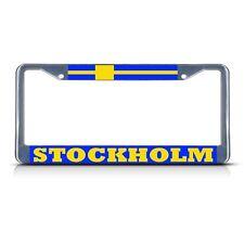 SWEDEN STOCKHOLM Metal License Plate Frame Tag Border Two Holes