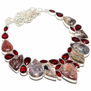 "Crazy Red Jasper, Garnet Gemstone Handmade Ethnic Jewelry Necklace 18"""