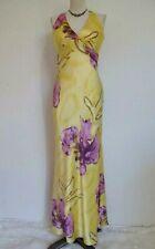 Cache Silk Evening Dress 4 Criss Cross Halter Twist Front Yellow Purple Floral