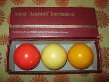 Ancien COFFRET 3 BILLES DE BILLARD CARAMBOLE SUPER ARAMITH TOURNAMENT BALLS