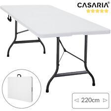 Mesa plegable multiuso 220x70x72cm Blanca rectangular portátil ligera de jardín