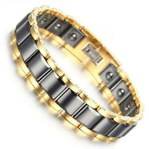 Men Women Gold Tungsten Black Ceramic Magnetic Energy Link Bracelet Arthritis
