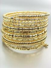 GORGEOUS Multi Strands Row Gold Beads Twist Wire Wrap Coil Statement Bracelet