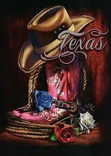 Texas The Lone Star State, Boot Spurs Red White Blue Rose, Cowboy Hat - Postcard