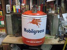 MOBIL PEGASUS MOBILGREASE MOTOR OIL 5 GALLON CAN GAS TIN FILLING STATION