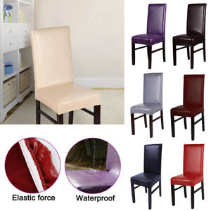 1PC Premium PU Leather Chair Covers Stretch Dining Room Seat Slipcovers`