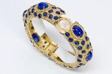 Kenneth Jay Lane KJL 1960's Gold Plated Blue Cabochon Glass Watch Bracelet
