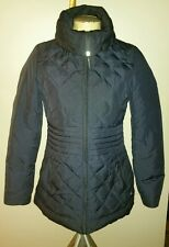 VIA SPIGA GOOSE DOWN FILLED LONG PUFFER JACKET WINTER COAT BLACK FITTED XS S