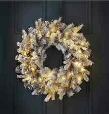30 Warm White LED Light Nordiac Spruce Pre-Lit Wreath 60cm Christmas Decoration