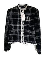 I.C.E. Jacket/Blazer  Size 10 Black Plaid New
