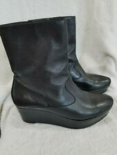 Robert Clergerie ankle boots 7.5black leather zip2in wedge heel/10in shaft Paris