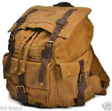 Large Men's Military Canvas Leather Backpack School Bag Rucksack Travel Backpack