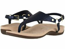 Vionic Orthaheel Rest Kirra Ladies Leather T Strap Sandals Navy 7.5