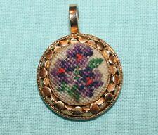 Vintage Violet Flower Petit Point Pendant Needlework Goldtone Lovely