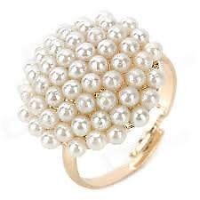 Vintage Gold-filled Mushroom Shaped Pearl Ring - White