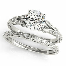 1.00 ctw  Off White Real Moissanite Engagement Ring 925 Sterling Silver Ring