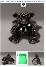 anello teddy bear,orso,in zama,placcato S925,regolabile,boho,chic,hip-hop,+bag.