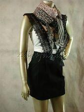 $248 New LEIFSDOTTIR Black Lace Suspenders Pleated Stretchy Cotton Mini Skirt 10