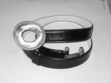 UNISEX Black Leather Belt with LARGE Silver Locking Buckle NWOT Size XL
