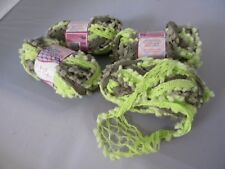 Lot 4 Skeins Needle Crafters Ball Chain Mesh Ruffle Scarf Yarn Sage