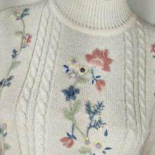 Vintage Angora Fuzzy Floral Sweater Pastel Turtleneck Pearls Fairy Kei Kawaii M