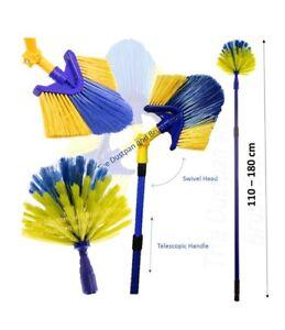 Extendable Cobweb Brush Adjustable Angled Feather Duster Long Telescopic Handle