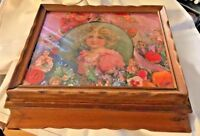 Antique Jewelry Trinket Box Wood Victorian Girl Print under Glass
