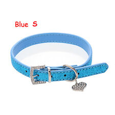 Crystal Buckle Adjustable Pet Dog Collar Heart Pendant Bling Leather Neck Strap Blue S