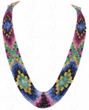7 Rows Of Emerald Ruby Blue Sapphire Faceted Bead Necklace NP1164