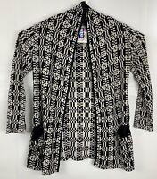 Beyond Threads Women's Size S Checkers Cardigan open Sweater Black & Cream Plaid