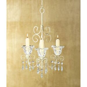 Shabby Chic Scrollwork Acrylic Crystal Chandelier Candle Holder Indoor Outdoor