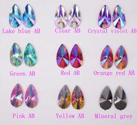 100 pcs Acrylic Rhinestone Teardrop Color AB Flat Back Jewels Faceted