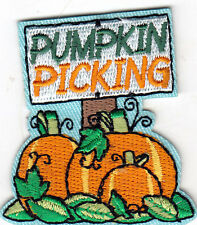 """PUMPKIN PICKING"" - Iron On Embroidered Patch-Holiday, Scary, Fun, Pumpkin Patch"