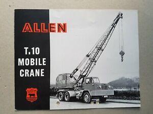 Allen T.10 Mobile Crane 4pg  Leaflet/Brochure  May 1958