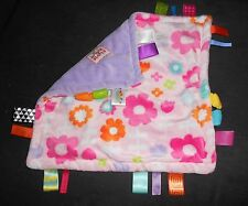 Bright Starts Taggies Baby Security Blanket Pink Purple Flowers Rubber Teether
