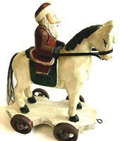 Santa Claus Riding Horse Hand Carved 2003