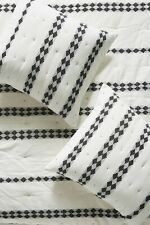 Anthropologie Sham WOVEN CRISTOBAL Euro Quilted Black White Embroidered NWT