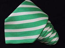"""KITON NAPOLI MEN'S TIE GREEN & WHITE/STRIPED 7/8 3.7/8""""  61"""" ITALY"""