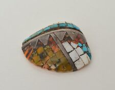 Antique VTG Native American Zuni Turquoise Mosaic Sterling Silver Inlaid Pendant