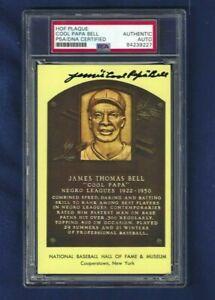 James Cool Papa Bell Autographed HOF Plaque Postcard Negro League Baseball SLAB