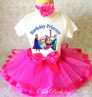 Frozen Elsa Anna Princess Hot Pink Girl 1st First Birthday Tutu Outfit Shirt Set