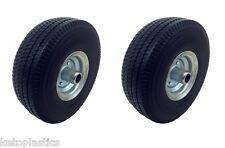 2 x Off Set Galvanised PU Sit On Lawn Mower Wheel Puncture Proof 4.10/3.50 - 4
