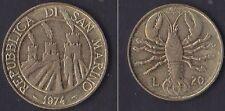 SAN MARINO - 1974 -    20 lire - KM 34 - UNC from divisionale