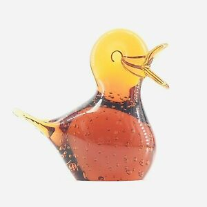 Vintage Art Glass Amber Bullicante Duckling Duck Figurine Applied Beak